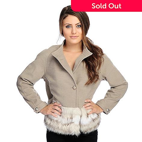 cb84f3de4 Donna Salyers' Fabulous-Furs Woven Faux Fur Trim Cropped Jacket