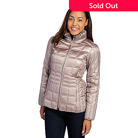 724-088- Ellen Tracy Quilted Down Packable Puffer Coat w  Drawstring Bag 9aa0302c9f