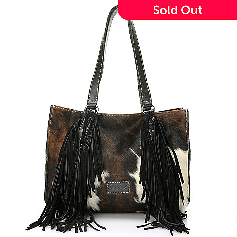 724 268 Patricia Nash Patras Suede Leather Cow Hair Rivet Detailed