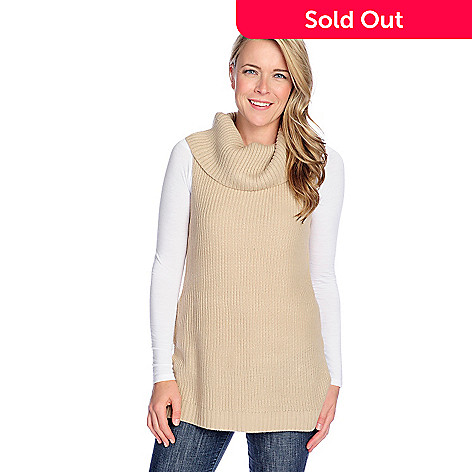 c7f4a07c98067c 724-309- Kate   Mallory® Sweater Knit Sleeveless Zipper Detailed Cowl Neck  Sweater