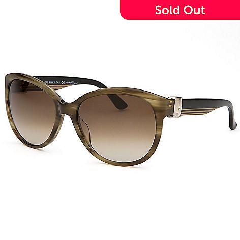 Salvatore Ferragamo Cat Eye Frame Stripe Detailed Sunglasses w/ Case ...