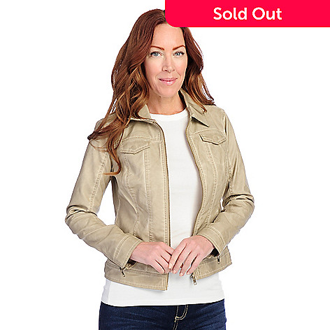 a5ac02fb9e728d OSO Casuals® Faux Leather Long Sleeved Four-Pocket Zip Front Jacket ...