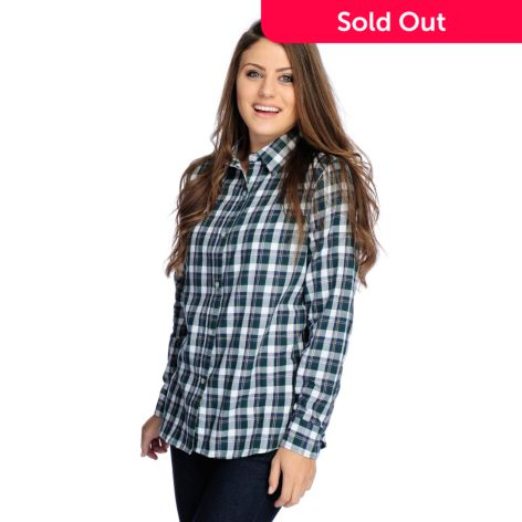 Bows & Sequins Woven Plaid Cuff Sleeved Button Front Shirttail Hem Top