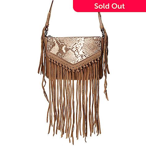 725 136 Kooba Handbags Sparrow Lamb Leather Fringe Detailed Crossbody Bag