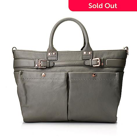 725 198 Kooba Handbags Kira Leather Double Handle Buckle Detailed Satchel W