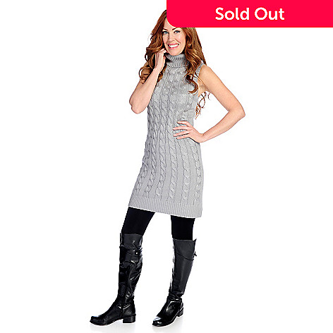 8ab58718bbfe 725-392- Kate & Mallory® Mixed Stitch Knit Sleeveless Turtleneck Sweater  Dress