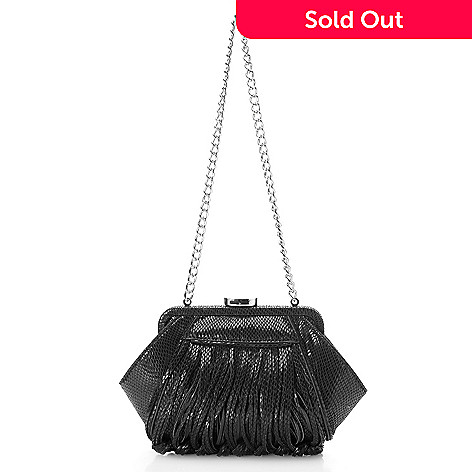 725 457 Katherine Kwei Snake Embossed Fringe Detailed Push Lock Chain Strap Clutch
