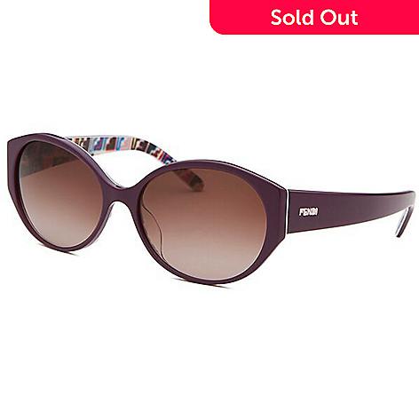 Fendi Round Frame Multi Color Detailed Sunglasses w/ Case - EVINE