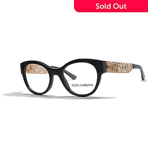 95000594759a Dolce & Gabbana Black & Gold-tone Round Frame Eyeglasses w/ Case - EVINE