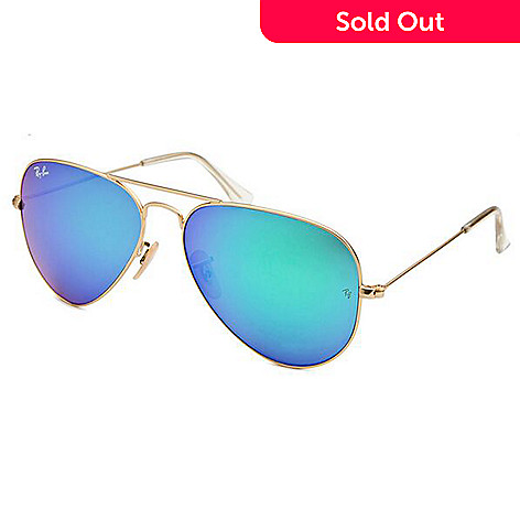 f8ad08ebf8f16 726-066- Ray-Ban Men s Gold-Tone Frame Reflective Lens Aviator Sunglasses