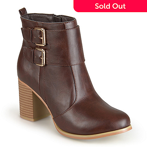 cc11ce3479ba 726-165- Journee Collection Women s Faux Leather Heeled Buckle Ankle Booties