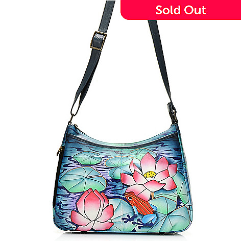 727 056 Chka Hand Painted Leather Zip Top Hobo Handbag W Adjule