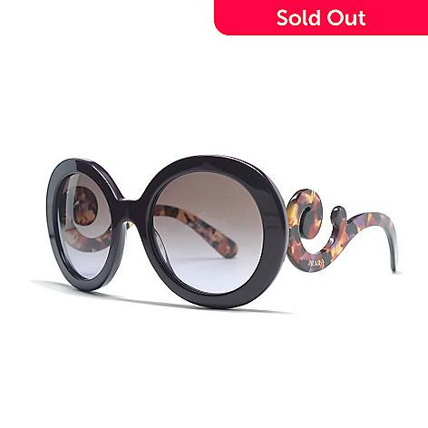 3c185015f244 727-394- Prada Baroque Swirl Arm Violet & Brown Round Frame Sunglasses w/