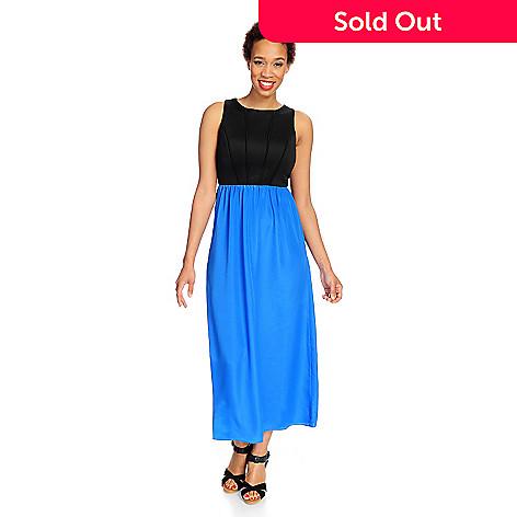 Kate Mallory Knit Woven Sleeveless Zip Back Maxi Dress Evine