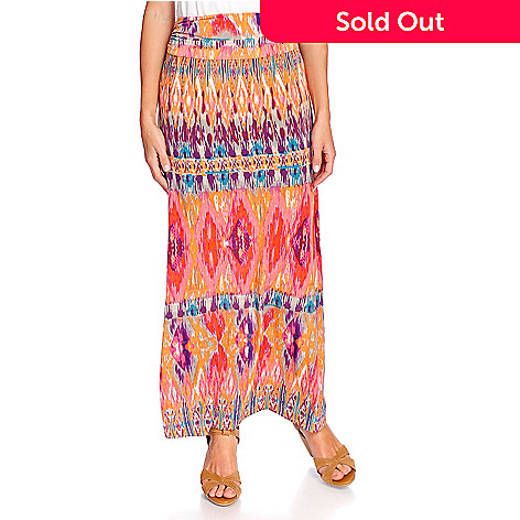 d1e0c71b4d10 727-485- Lily V Printed Knit Fold-over Elastic Waist Maxi Skirt