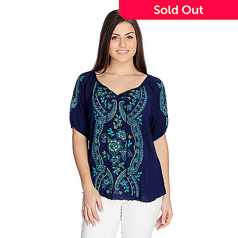 0bd3cb71338 727-632- One World Woven Elbow Sleeve Embroidered Peasant Top