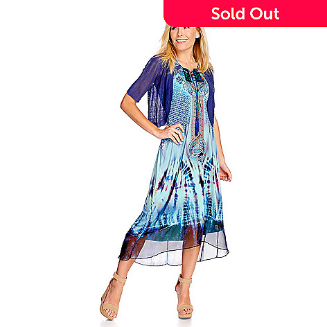 One World Micro Jersey Printed Hi Lo Dress Pointelle Sweater Shrug