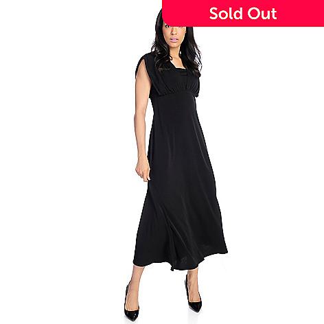 8f70316a0fb 727-723- V. by Vanessa Williams Stretch Knit Cap Sleeved Empire Waist Maxi