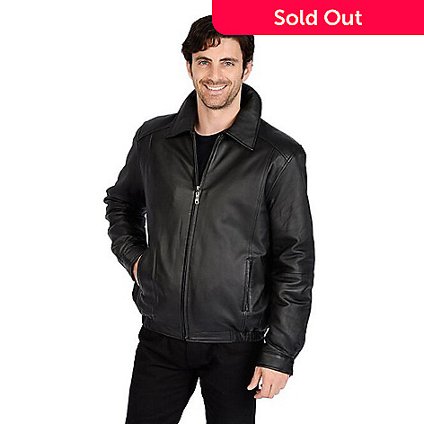 6e3976ba8734 727-781- Excelled Men's Lamb Leather Pointed Collar Zip Front Bomber Jacket