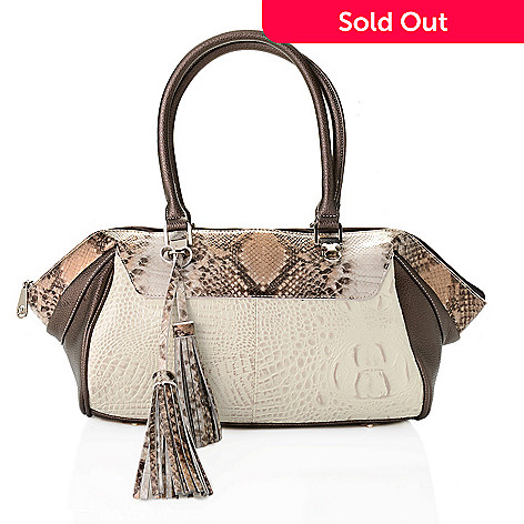 727 880 Madi Claire Madison Croco Embossed Leather Tassel Detailed Satchel W