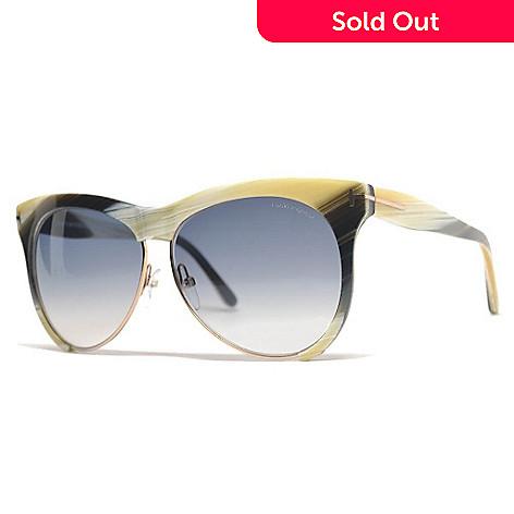 68036e37f752 727-981- Tom Ford Blue Lens Yellow Horn Round Frame Sunglasses w  Case