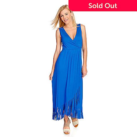 885c2e98b666 728-069- Kate   Mallory® Stretch Knit Sleeveless Wrap Front Fringed Dress