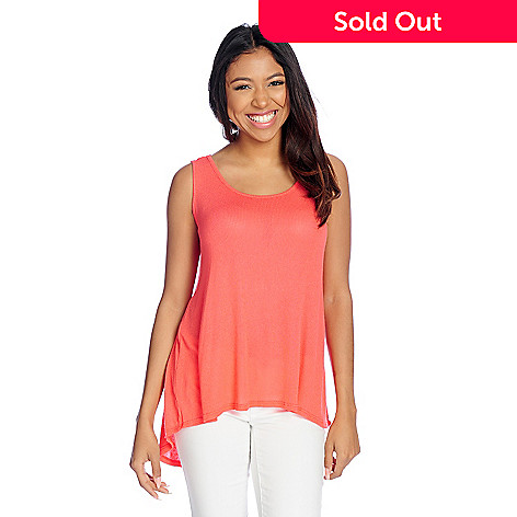 108900dccc2cf Kate   Mallory® Sweater Knit Sleeveless Lace Trimmed Hi-Lo Tank Top ...