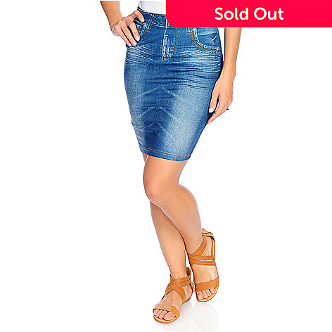 6343d55e65 Slim  N Lift Caresse Jean-Printed Knit Knee-Length Fitted Skirt - EVINE