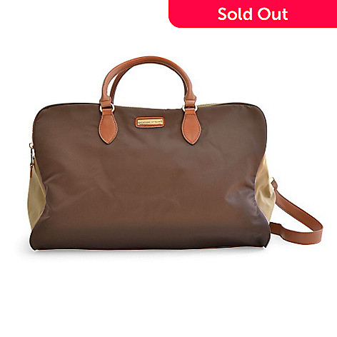 e844220795 728-554- Adrienne Vittadini Nylon Faux Leather Trimmed Three-Compartment Duffel  Bag w
