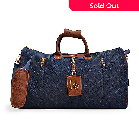 6ecad0a3bc 728-555- Adrienne Vittadini Quilted Nylon Faux Leather Trimmed Duffel Bag  w  Strap