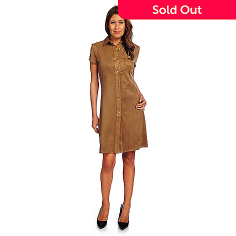 784adc56d03fe9 728-705- Marc Bouwer Faux Suede Cap Sleeved Button Front Shirt Dress