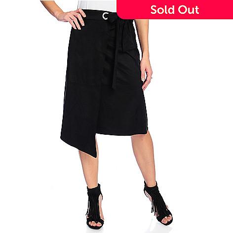 d1bdc982ee 728-707- Marc Bouwer Faux Suede Elastic Waist Asymmetrical Side-Tie Skirt