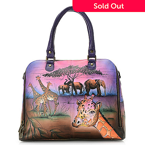 1f2c6bba771 728-717- Anuschka Hand-Painted Leather Zip Around Organizer Satchel w   Removable