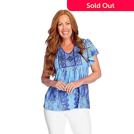 31196aafea6c04 728-985- One World Oil Washed or Printed Knit Flutter Sleeve Embellished Top