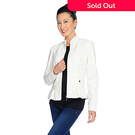 c7f691f45bf284 729-067- OSO Casuals® Faux Leather Stand Collar Zip Front Peplum Jacket