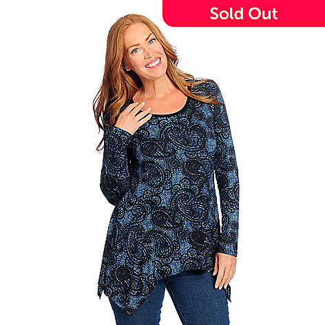 c407909063f 729-304- Kate   Mallory® Printed Knit Long Sleeved Scoop Neck Sharkbite Top