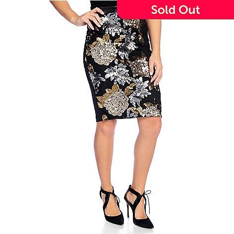 1822c6f419 729-627- Fair Child Knit & Mesh Sequined Front Side Zip Pencil Skirt