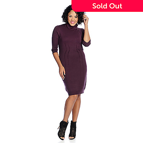 7e93ad4f2ca 729-786- V. by Vanessa Williams Sweater Knit Elbow Sleeve Turtleneck Knee-