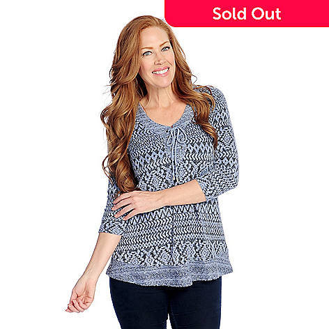 efa6664053a One World Textured & Aztec Printed Knit Raglan Sleeve Lace-up Tunic ...