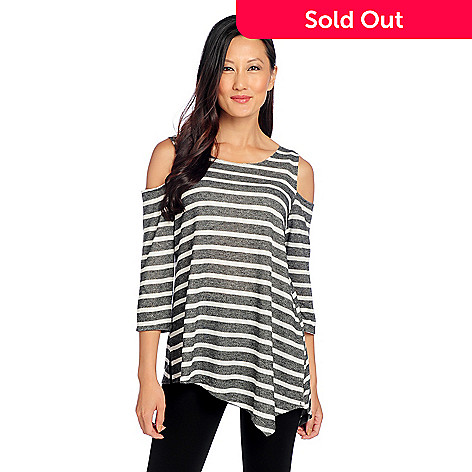 cc3d66882ed 729-837- HRP by Holly Robinson Peete French Terry Knit Cold Shoulder  Asymmetrical Striped