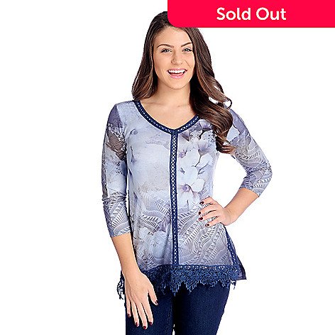 dc56ee5558 One World Printed Knit 3/4 Sleeve Crocheted & Lace Trimmed Tunic - EVINE