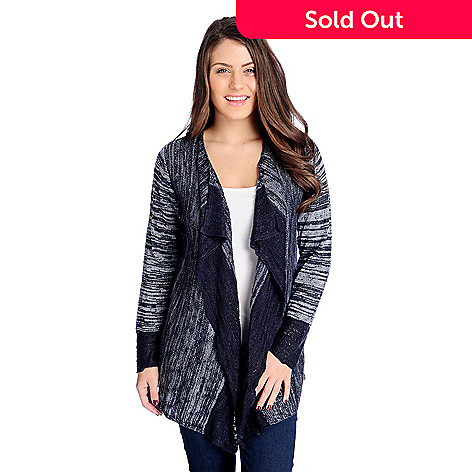 915e0e96b08 730-049- One World Sweater   Pointelle Knit Long Sleeve Cascade Cardigan