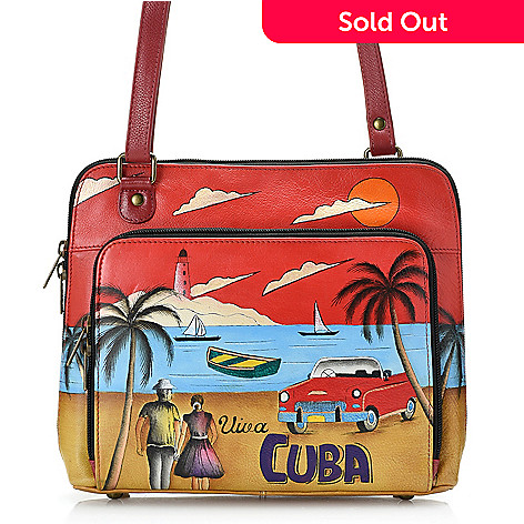 133d7e9e9f 730-119- Anuschka Hand-Painted Leather RFID Blocking Organizer Crossbody Bag  - Final