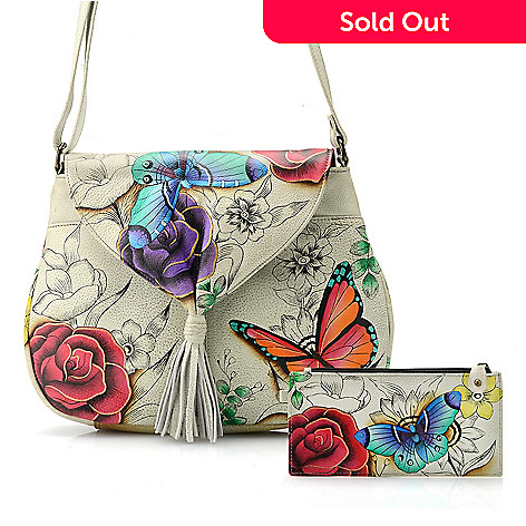 730-123- Anuschka Hand-Painted Leather Tassel Detailed Flap-over Crossbody  Bag fcbefc1b87020