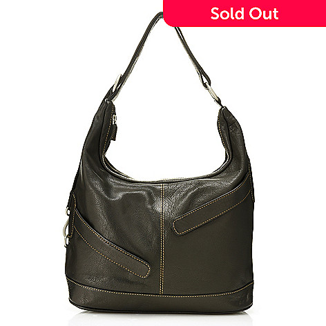 """730-147- Bianci by Madi Claire """"Max"""" Genuine Leather Zipper Detailed Hobo"""