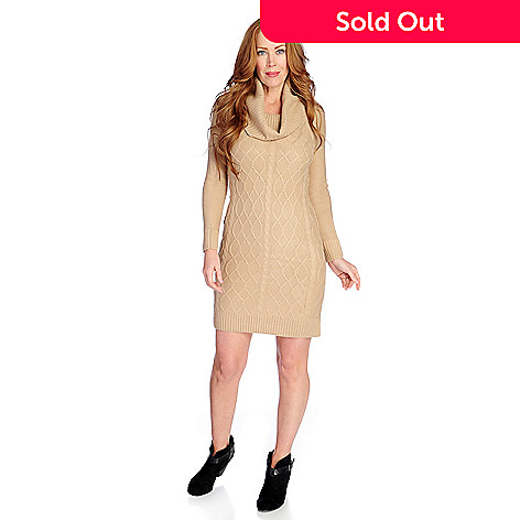49cff2aea3bd 730-277- OSO Casuals® Cable Knit Long Sleeved Cowl Neck Sweater Dress