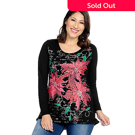 ddc60b4af7360 730-356- MCCC Sportswear™ Printed Knit Long Sleeve Scoop Neck Holiday Swing  Top