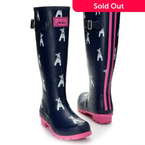 "joules ""welly"" dog printed buckle detailed knee-high rain boots - evine"