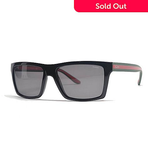 027f055ba1fb5 730-568- Gucci Unisex Polarized Lens Red   Black Rectangular Frame  Sunglasses w