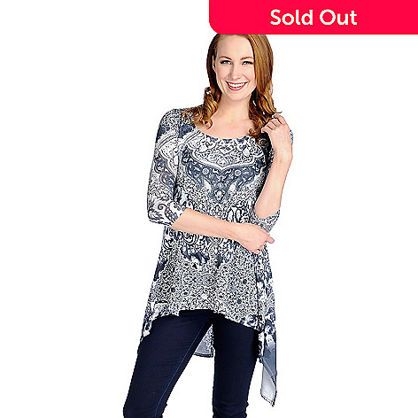e7b5961a4551e One World Printed Knit 3 4 Sleeve Split Back Tunic w  Attached Tank ...